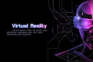 polygone silhouette homme portant un appareil de réalité virtuelle vr vecteur