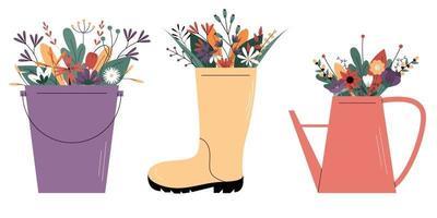 fleurs sauvages dans une botte en caoutchouc, dans un arrosoir et dans un seau. vecteur