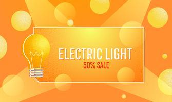 Bannière lumineuse électrique de vente. Ampoule électrique de commerce électronique. Illustration de texture plate de vecteur