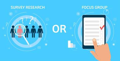 Recherche par sondage ou groupe de discussion. Illustration de plat Vector