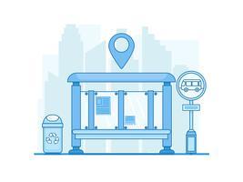 Bannière City Bus Stop. Paysage avec chaussée, route, trottoir et station de bus vide. Illustration vectorielle ligne plate