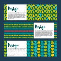 Définir les arrière-plans dans les bleus et les verts. Style dessiné à la main vecteur