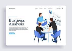 concept isométrique de l'équipe de gestion de projet et de conseil financier vecteur