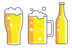 Un verre, une tasse et une bouteille de bière. illustration plate