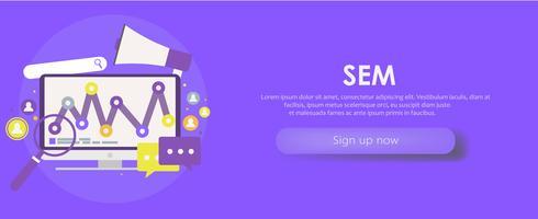 Bannière de marketing de moteur de recherche. Ordinateur avec objet, diagramme, icône d'utilisateur. Illusration plate de vecteur