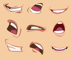 Ensemble d'expressions de bouche de dessin animé. Illustration vectorielle vecteur
