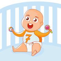 Un enfant avec des jouets vibre dans une berceuse. Illustration de plat Vector