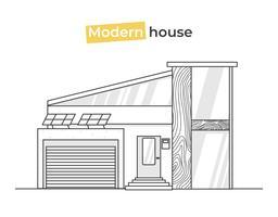 Maisons élégantes modernes dans les icônes de l'art en ligne. Concept de design à la maison avec des briques de texture et du bois et des tuiles. Illustration de plat Vector
