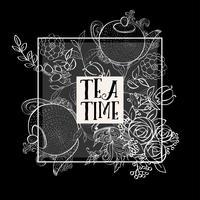 Ensemble de modèles de bannière de conception heure du thé