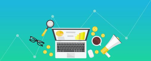 Bannière de gradient de marketing numérique. Lieu de travail avec ordinateur portable, café, papier, argent plat illustration vectorielle