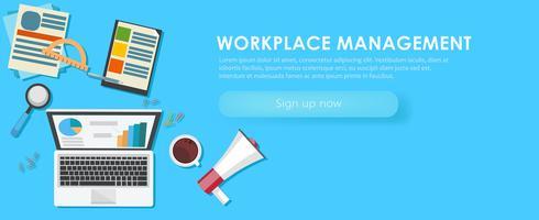 Bannière de gestion de lieu de travail. Bureau de travail, ordinateur portable, café. Illustration de plat Vector
