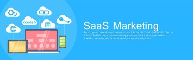 Bannière SaaS Marketing. Ordinateur portable, tablette et téléphone, stockage en nuage avec des icônes. Illustration de plat Vector
