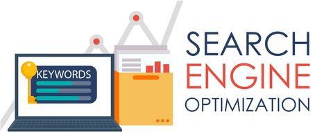 Optimisation du moteur de recherche. Ordinateur portable avec un dossier de documents, de graphiques et de clés. illustration plate