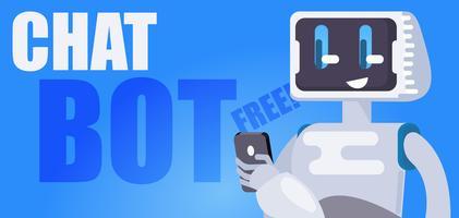 Chat Bot Libre Fond d'écran. Le robot tient le téléphone, répond aux messages. Illustration de plat Vector