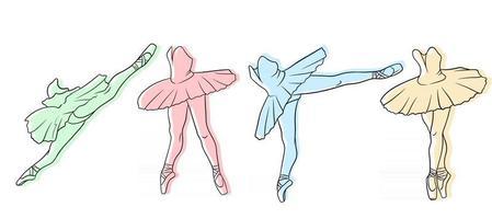 ensemble de ballet. ballerine en pointes et tutu. les jambes du danseur. vecteur