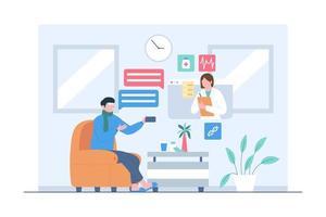 patient faisant une consultation en ligne avec un médecin illustration vecteur