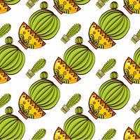 Modèle sans couture de cactus et de plantes succulentes en pots. vecteur