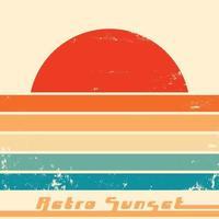 affiche de coucher de soleil rétro avec texture grunge vintage. illustration vectorielle. vecteur