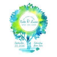 Invitation avec arbre aquarelle. vecteur