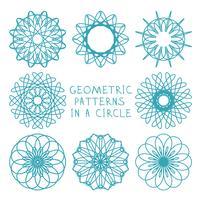 Ornements géométriques ronds vecteur