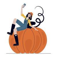 agricultrice prenant selfie sur téléphone mobile vecteur