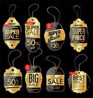 Collection de vecteur papier étiquette de prix rétro style doré vintage design