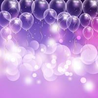 Ballons et bokeh lumières fond de célébration vecteur