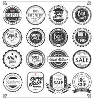 Collection de badges et étiquettes vintage rétro