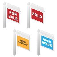 Signes immobiliers à vendre, vendus, portes ouvertes et sous contrats vecteur
