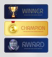 Conception d'affiche de vecteur pour le gagnant, le champion et le prix du meilleur choix.