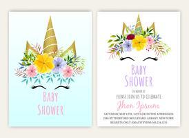 Licorne floral carte de décor décor de douche de bébé
