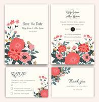 Ensemble de vecteur de cartes d'invitation avec des éléments de fleurs Collection mariage