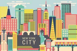 illustration vectorielle la ville de new york, concept de design plat vecteur