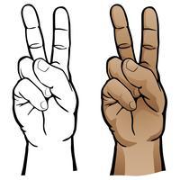 Illustration vectorielle de la main signe de la paix vecteur