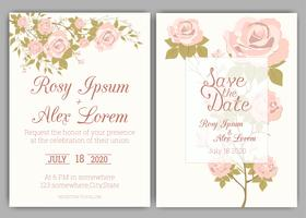 Cadre floral dessiné à la main pour une invitation de mariage