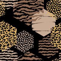 Abstrait motif géométrique sans soudure avec imprimé animal et hexagones. vecteur