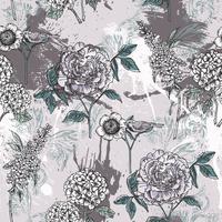 Modèle sans couture floral éclectique avec peinture en aérosol.