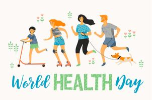 Journée mondiale de la santé. Mode de vie sain. Famille de sport. vecteur
