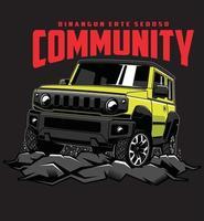 aventure communautaire en jeep vecteur