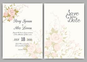 Cadre floral dessiné à la main pour une invitation de mariage vecteur