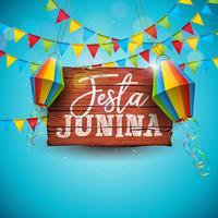 Festa Junina Illustration avec drapeaux et lanternes en papier vecteur