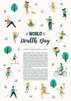 Journée mondiale de la santé. Illustration vectorielle de personnes menant une vie saine et active. vecteur