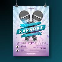 Dépliant Karaoke Party avec microphones sur fond violet vecteur