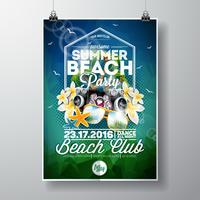 Vector Summer Beach Party Flyer Design avec des éléments typographiques et musicaux