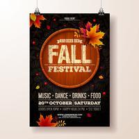 Autumn Party Flyer Illustration avec des feuilles qui tombent vecteur