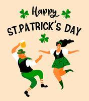 Le jour de la Saint-Patrick. Illustration vectorielle avec des gens drôles