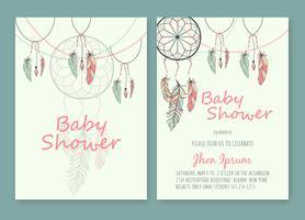 Douche de bébé à la main dessiné image vectorielle de perles attrapeur de rêves amérindien vecteur