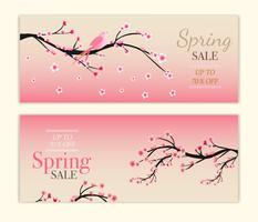 collections de fond de fleurs de cerisier vecteur