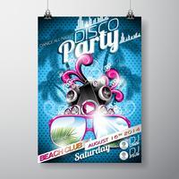 Vector Disco Party Flyer Design avec haut-parleurs et lunettes de soleil sur fond bleu.