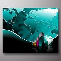 Illustration de l'entreprise avec la carte du monde sur fond bleu.